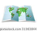 Travel World Map With GPS Pins 31363844