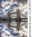 Tower Bridge against sunset in London, England, UK 31363903