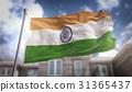 India Flag 3D Rendering on Blue Sky Building 31365437