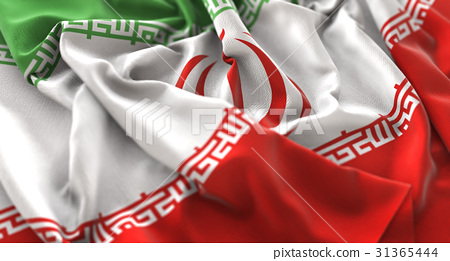 Iran Flag Ruffled Beautifully Waving Macro 31365444