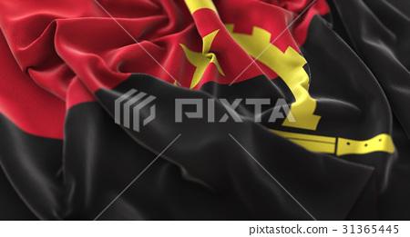 Angola Flag Ruffled Beautifully Waving Macro 31365445