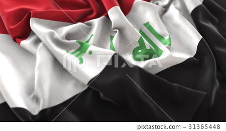 Iraq Flag Ruffled Beautifully Waving Macro 31365448