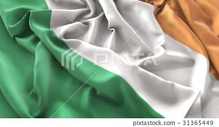 Ireland Flag Ruffled Beautifully Waving Macro 31365449
