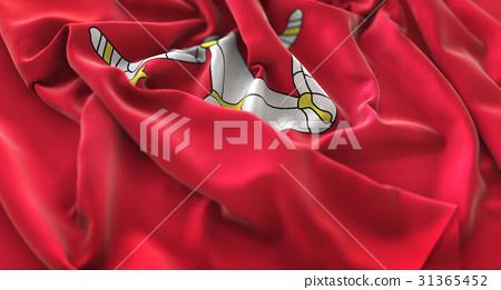 Isle of Man Flag Ruffled Beautifully Waving 31365452