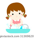 Cute girl washing hands vector . 31369620