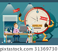 Businessman hard work at night with clock robot. 31369730