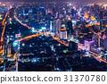 大廈的夜視圖曼谷,泰國首都 31370780