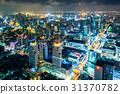 大廈的夜視圖曼谷,泰國首都 31370782