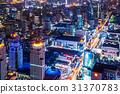 大廈的夜視圖曼谷,泰國首都 31370783