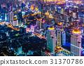 大廈的夜視圖曼谷,泰國首都 31370786