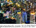 大廈的夜視圖曼谷,泰國首都 31370787