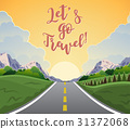 highway drive with beautiful sunrise landscape. 31372068