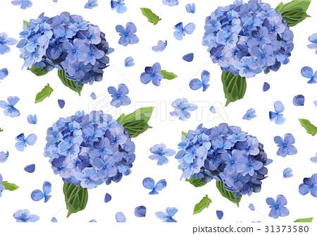 Hydrangea Hortensia flower Seamless pattern 31373580