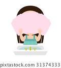 抹毛巾的女孩的例證與毛巾在洗滌面孔以後 31374333