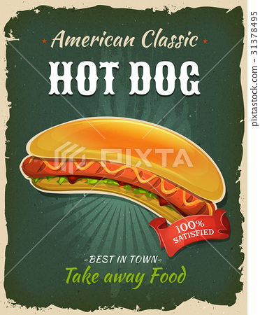 Retro Fast Food Hot Dog Poster 31378495