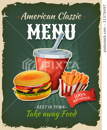 Retro Fast Food Burger Menu Poster 31378497