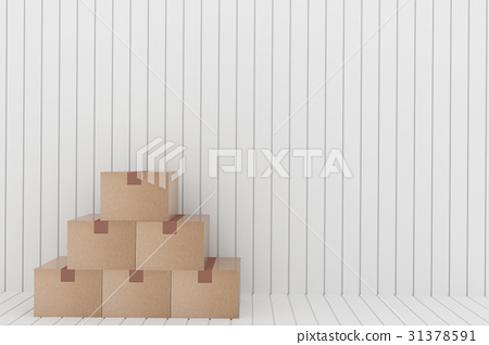 empty cardboard box in the white room in 3D 31378591