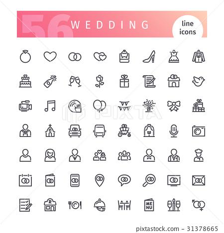 Wedding Line Icons Set 31378665