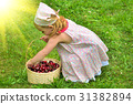 Girl in a dress with a basket of red cherries 31382894