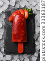 strawberry, popsicle, ice 31383187