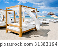 beds in a beach club in Ibiza, Spain 31383194