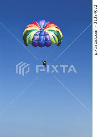 Skydiver on colorful parachute in sunny blue sky 31384022