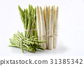 White and Green Asparagus - isolated 31385342