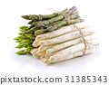 White and Green Asparagus - isolated 31385343