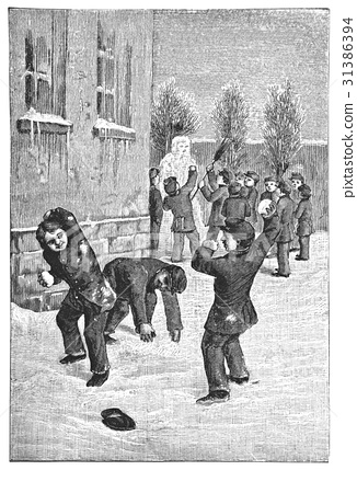 Children have a snowball fight near the school 31386394