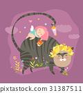vector girl cat 31387511
