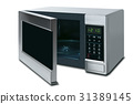 open microwave oven isolated on a white background 31389145