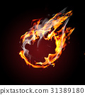 Blank ball on fire 31389180