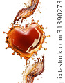 Heart from cola splash with bubbles isolated on 31390273