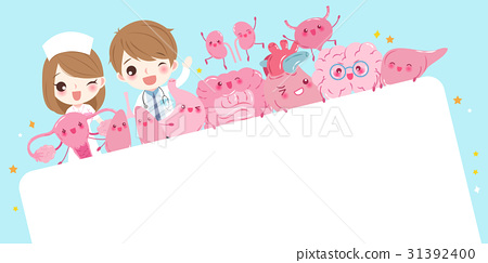 cute cartoon doctor with organ 31392400