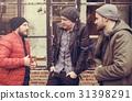 Adult Men Talk Sit Together Friends 31398291