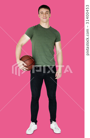 Young adult muscular man holding basketball 31400453