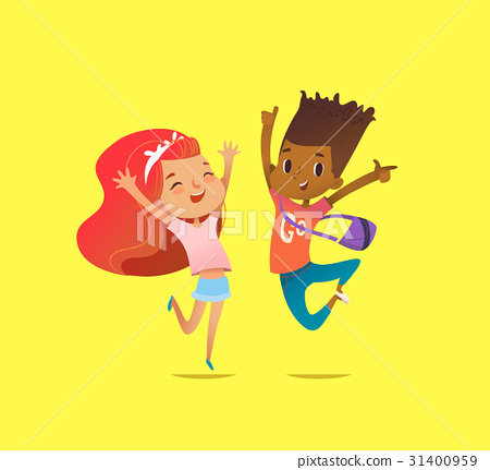 Excited boy and girl of different races laugh 31400959