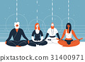 Four people sit with closed eyes and crossed legs 31400971