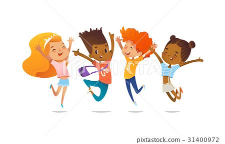 Happy school multiracial children joyfully jumping 31400972