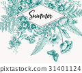 Vintage frame with garden flowers. Engraving. 31401124