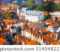 Aerial view of narrow streets and red rooftops of 31404822