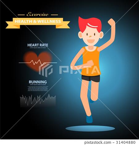 active young man running marathon sport infogra 31404880