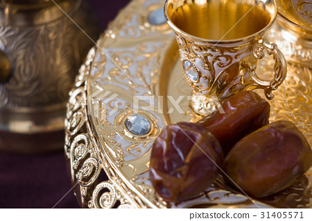 golden arabic coffee set with dallah and dates 31405571