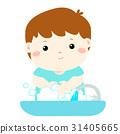 Cute boy washing hands in Washbasin vector. 31405665