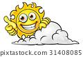 Sun Cartoon Mascot and Cloud 31408085