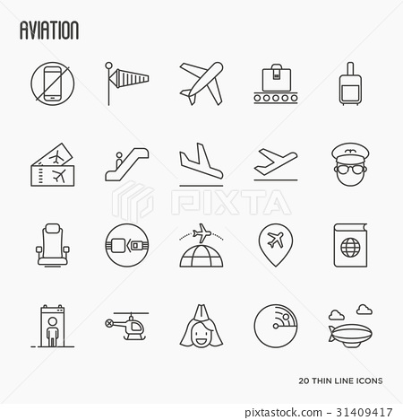 Airport, aviation and tourism simple icons 31409417