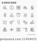 Alternative medicine thin line icon set 31409435