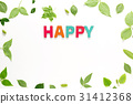 Happy text with green leaves 31412368