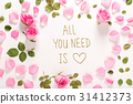 All You Need Is Love message with roses and leaves 31412373