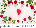 Heart with roses and leaves 31412378